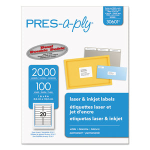 ESAVE30601 - Laser Address Labels, 1 X 4, White, 2000-box