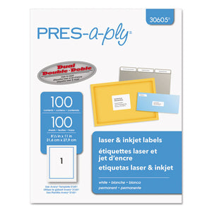 ESAVE30605 - Laser Full-Sheet Labels, 8 1-2 X 11, White, 100-box