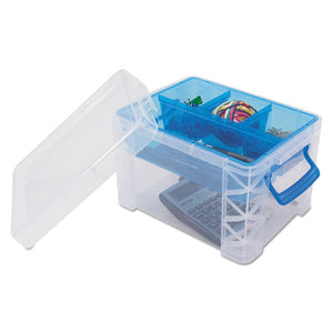 ESAVT37375 - Super Stacker Divided Storage Box, Clear W-blue Tray-handles, 7 1-2 X 10.12x6.5