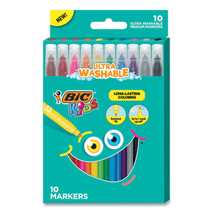 Kids Ultra Washable Markers, Medium Bullet Tip, Assorted Colors, 10-pack