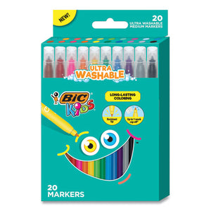 Kids Ultra Washable Markers, Medium Bullet Tip, Assorted Colors, 20-pack