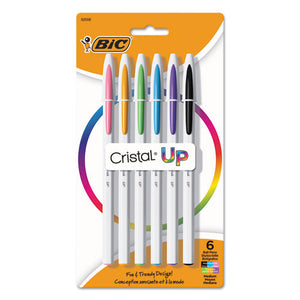 ESBICMSUPAP61AST - CRISTAL UP, BALLPOINT, 1.2 MM, ASSORTED INK, WHITE BARREL, 6-PACK