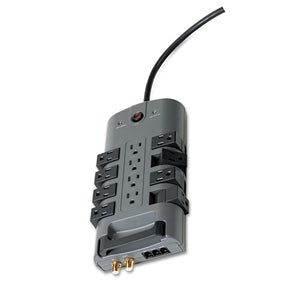 ESBLKBP11223008 - Pivot Plug Surge Protector, 12 Outlets, 8 Ft Cord, 4320 Joules, Gray