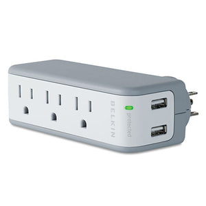 ESBLKBZ103050TVL - Wall Mount Surge Protector, 3 Outlets-2 Usb Ports, 918 Joules, Gray-white