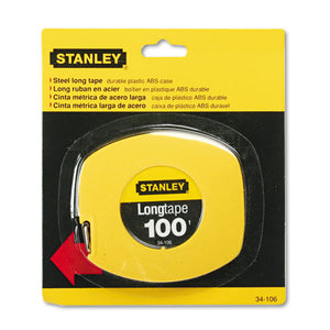 "ESBOS34106 - Long Tape Measure, 1-8"" Graduations, 100ft, Yellow"