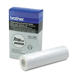 "98' Thermaplus Fax Paper Roll, 1"" Core, 8.5"" X 98ft, White, 2-pack"