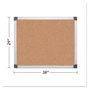 ESBVCCA031170 - Value Cork Bulletin Board With Aluminum Frame, 24 X 36, Natural
