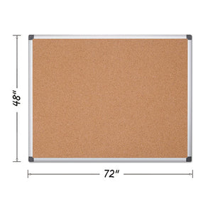 ESBVCCA271170 - Value Cork Bulletin Board With Aluminum Frame, 48 X 72, Natural
