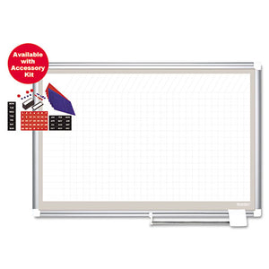 ESBVCCR1232830A - All Purpose Porcelain Dry Erase Planning Board, 1 X 1 Grid, 72 X 48, Silver