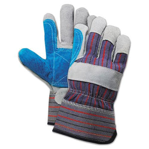 ESBWK00034 - Cow Split Leather Double Palm Gloves, Gray-blue, Large, 1 Dozen