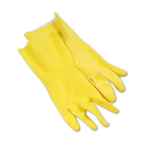 ESBWK242L - Flock-Lined Latex Cleaning Gloves, Large, Yellow, 12 Pairs