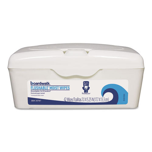ESBWK457WTEA - Flushable Moist Wipes, 7 X 5 1-4, Fresh Scent, 42-tub