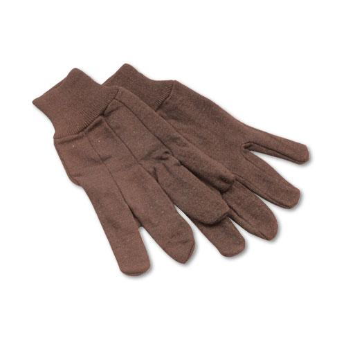 ESBWK9 - Jersey Knit Wrist Clute Gloves, One Size Fits Most, Brown, 12 Pairs