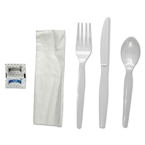 ESBWKFKTNSHWPSWH - 6-Pc. Cutlery Kit, Condiment-fork-knife-napkin-spoon, Heavyweight, White, 250-ct