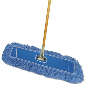 "ESBWKHL245BSPC - Looped-End Dust Mop Kit, 24 X 5, 60"" Metal-wood Handle, Blue-natural"