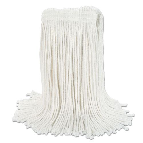 "ESBWKRM03024S - Banded Rayon Cut-End Mop Heads, White, 24 Oz, 1 1-4"" Headband, 12-carton"