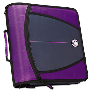"Large Capacity Zipper Binder, 3 Rings, 3"" Capacity, 11 X 8.5, Purple"