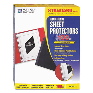 ESCLI03213 - Traditional Polypropylene Sheet Protector, Standard Weight, 11 X 8 1-2, 100-bx