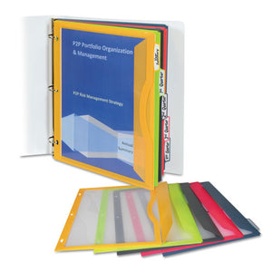 ESCLI06650 - Binder Pocket With Write-On Index Tabs, 9 11-16 X 11 3-16, Assorted, 5-set