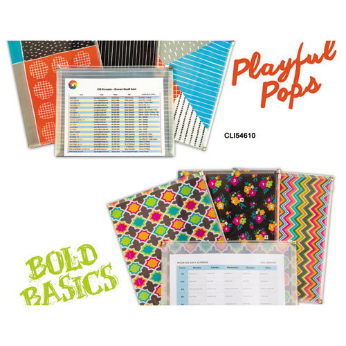 "ESCLI54610 - PLAYFUL POPS AND BOLD BASICS ZIP 'N GO REUSABLE ENVELOPE, 13.13"" X 10"", 3-PACK"