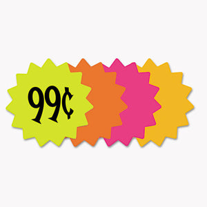 "ESCOS090249 - Die Cut Paper Signs, 4"" Round, Assorted Colors, Pack Of 60 Each"