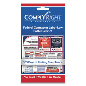 "ESCOS098435 - LABOR LAW POSTER SERVICE, ""FEDERAL CONTRACTOR LABOR LAW"", 4W X 7H"