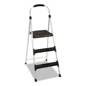 "ESCSC11411ABL1E - Aluminum Step Stool, 3-Step, 225lb, 28 29-64"" Working Height, Platinum-black"