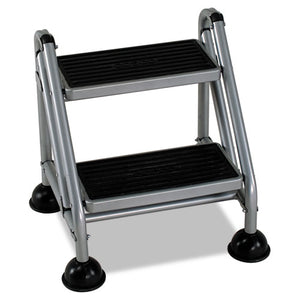 ESCSC11824GGB1 - Rolling Commercial Step Stool, 2-Step, 19 7-10 Spread, Platinum-black