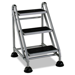 ESCSC11834GGB1 - Rolling Commercial Step Stool, 3-Step, 26 3-5 Spread, Platinum-black