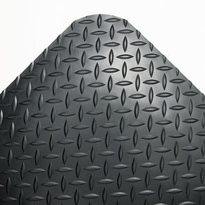 ESCWNCD0312DB - Industrial Deck Plate Anti-Fatigue Mat, Vinyl, 36 X 144, Black