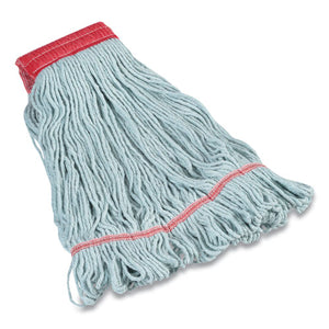 "Looped-end Wet Mop Head, Pet-cotton Blend, Large, 5"" Headband, Blue"