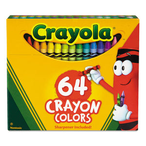 ESCYO52064D - Classic Color Crayons In Flip-Top Pack With Sharpener, 64 Colors