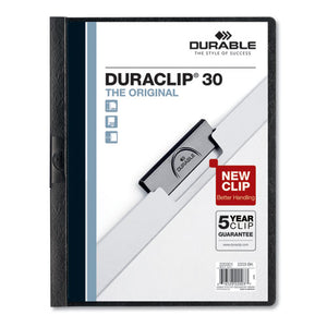 ESDBL220301 - VINYL DURACLIP REPORT COVER W-CLIP, LETTER, HOLDS 30 PAGES, CLEAR-BLACK, 25-BOX