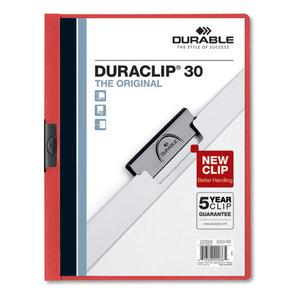 ESDBL220303 - VINYL DURACLIP REPORT COVER W-CLIP, LETTER, HOLDS 30 PAGES, CLEAR-RED, 25-BOX