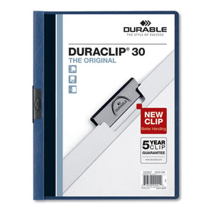 ESDBL220307 - VINYL DURACLIP REPORT COVER, LETTER, HOLDS 30 PAGES, CLEAR-DARK BLUE, 25-BOX