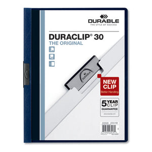 ESDBL220328 - VINYL DURACLIP REPORT COVER W-CLIP, LETTER, HOLDS 30 PAGES, CLEAR-NAVY, 25-BOX