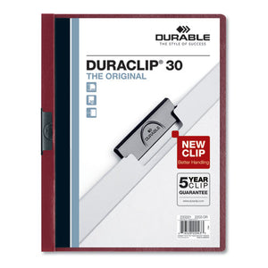 ESDBL220331 - VINYL DURACLIP REPORT COVER W-CLIP, LETTER, HOLDS 30 PAGES, CLEAR-MAROON, 25-BOX