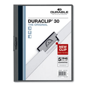 ESDBL220357 - VINYL DURACLIP REPORT COVER, LETTER, HOLDS 30 PAGES, CLEAR-GRAPHITE, 25-BOX