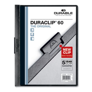 ESDBL221401 - VINYL DURACLIP REPORT COVER W-CLIP, LETTER, HOLDS 60 PAGES, CLEAR-BLACK, 25-BOX