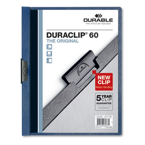 ESDBL221407 - VINYL DURACLIP REPORT COVER, LETTER, HOLDS 60 PAGES, CLEAR-DARK BLUE, 25-BOX