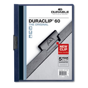 ESDBL221428 - VINYL DURACLIP REPORT COVER W-CLIP, LETTER, HOLDS 60 PAGES, CLEAR-NAVY, 25-BOX