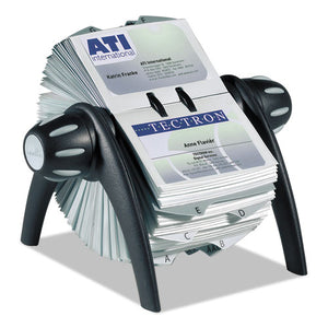 ESDBL241701 - Visifix Flip Rotary Business Card File, Holds 400 4 1-8 X 2 7-8 Cards, Black-sr