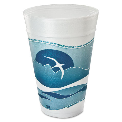 ESDCC32TJ32H - Horizon Foam Cup, Hot-cold, 32 Oz., Printed, Aqua-white, 25-bag, 20 Bags-carton