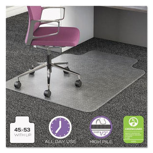ESDEFCM16233COM15 - ULTRAMAT ALL DAY USE CHAIR MAT FOR HIGH PILE CARPET, 45 X 53, WIDE LIPPED, CLEAR