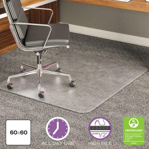ESDEFCM17743 - EXECUMAT ALL DAY USE CHAIR MAT FOR HIGH PILE CARPET, 60 X 60, RECTANGULAR, CLEAR