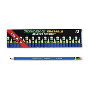 ESDIX14209 - Ticonderoga Erasable Colored Pencils, 2.6 Mm, Blue Lead-barrel, Dozen