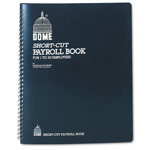ESDOM650 - Payroll Record, Single Entry System, Blue Vinyl Cover, 8 3-4 X11 1-4 Pages