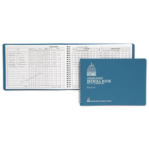 ESDOM710 - Simplified Payroll Record, Light Blue Vinyl Cover, 7 1-2 X 10 1-2 Pages