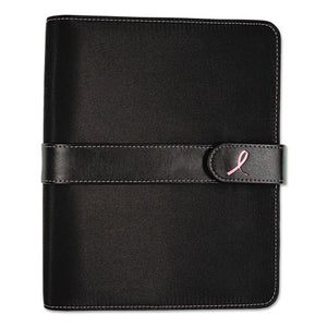 ESDTM48391 - Pink Ribbon Loose-Leaf Organizer Set, 5 1-2 X 8 1-2, Black Microfiber Cover