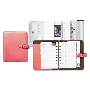 ESDTM48434 - Pink Ribbon Loose-Leaf Organizer Set, 5 1-2 X 8 1-2, Pink Leather Cover